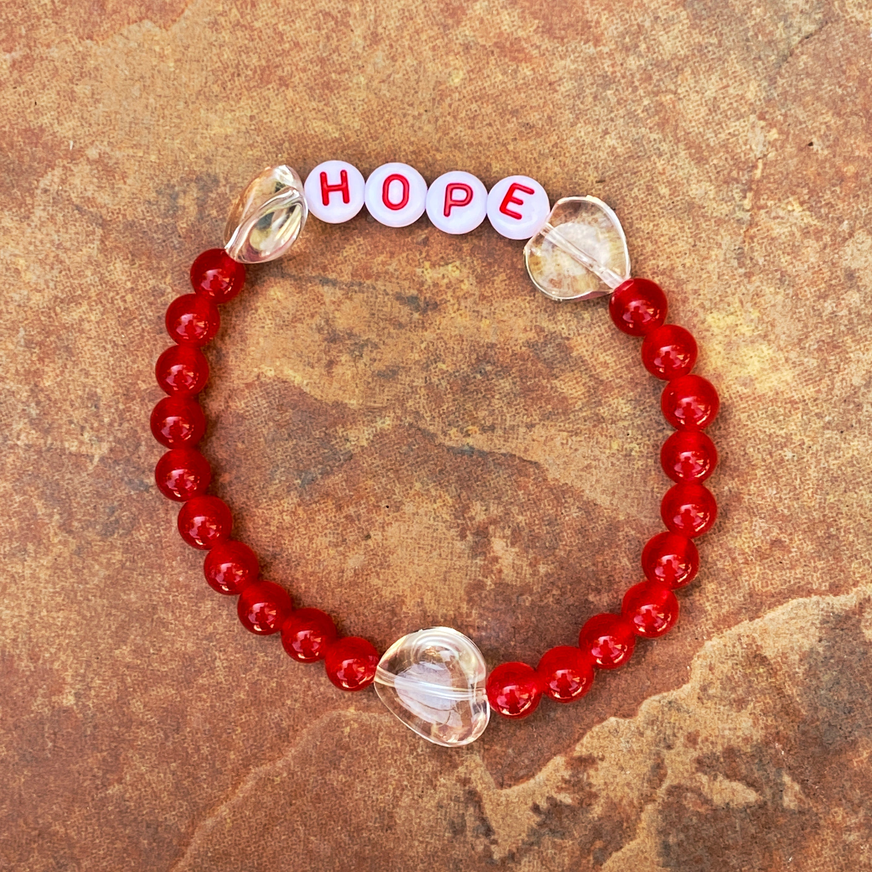 "Women's Various Gemstone ""HOPE"" and Hearts Bracelets"