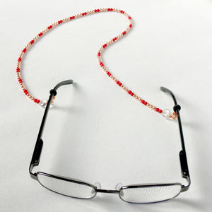 Rose Gold Hematite and Red Coral with Quartz Gemstone Hearts Eyewear Keeper