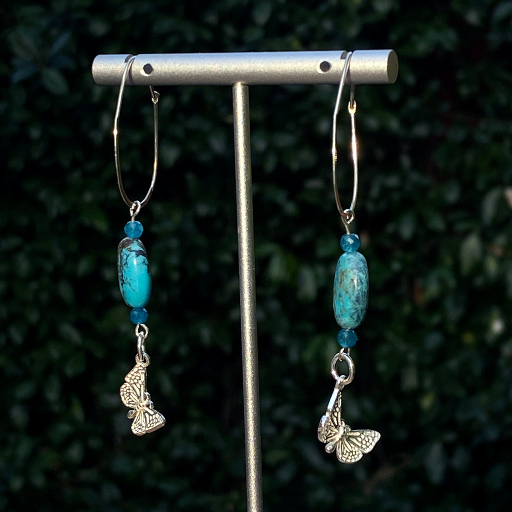 Blue genuine Turquoise & Apatite with sterling silver Butterfly Earrings