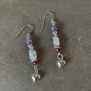 Women's Sterling Silver heart drop earrings with Precious & Semi Precious stones