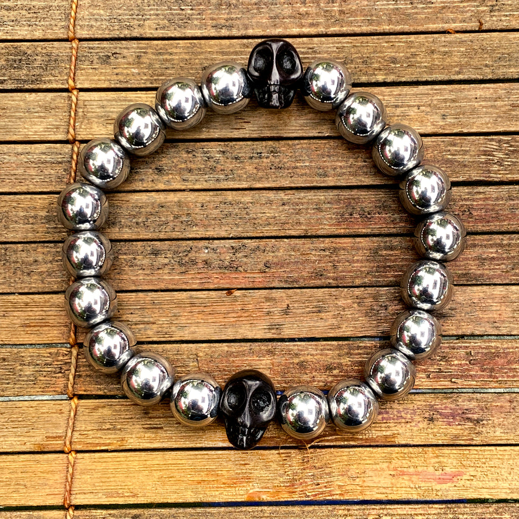 Men's Silver hematite and Black Howlite Skull Gemstone Bracelet