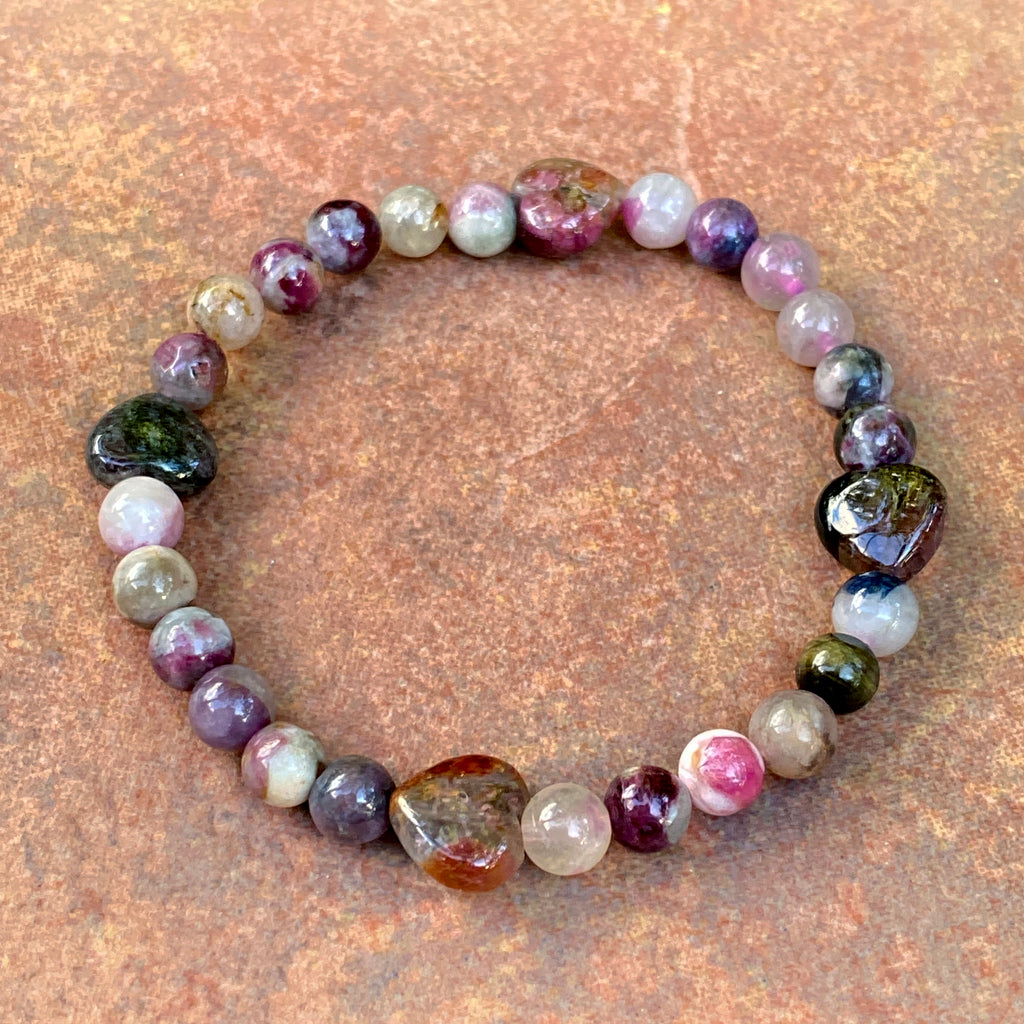 Women's Mixed Tourmaline Heart Gemstone stretch Bracelet