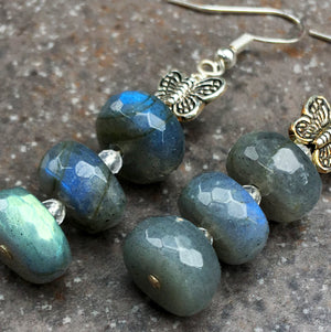 Labradorite & Moonstone Gemstones with Silver Butterfly Earrings