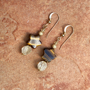 Tiger Eye Star and Citrine Gemstone with 14 karat gold filled drop Earrings