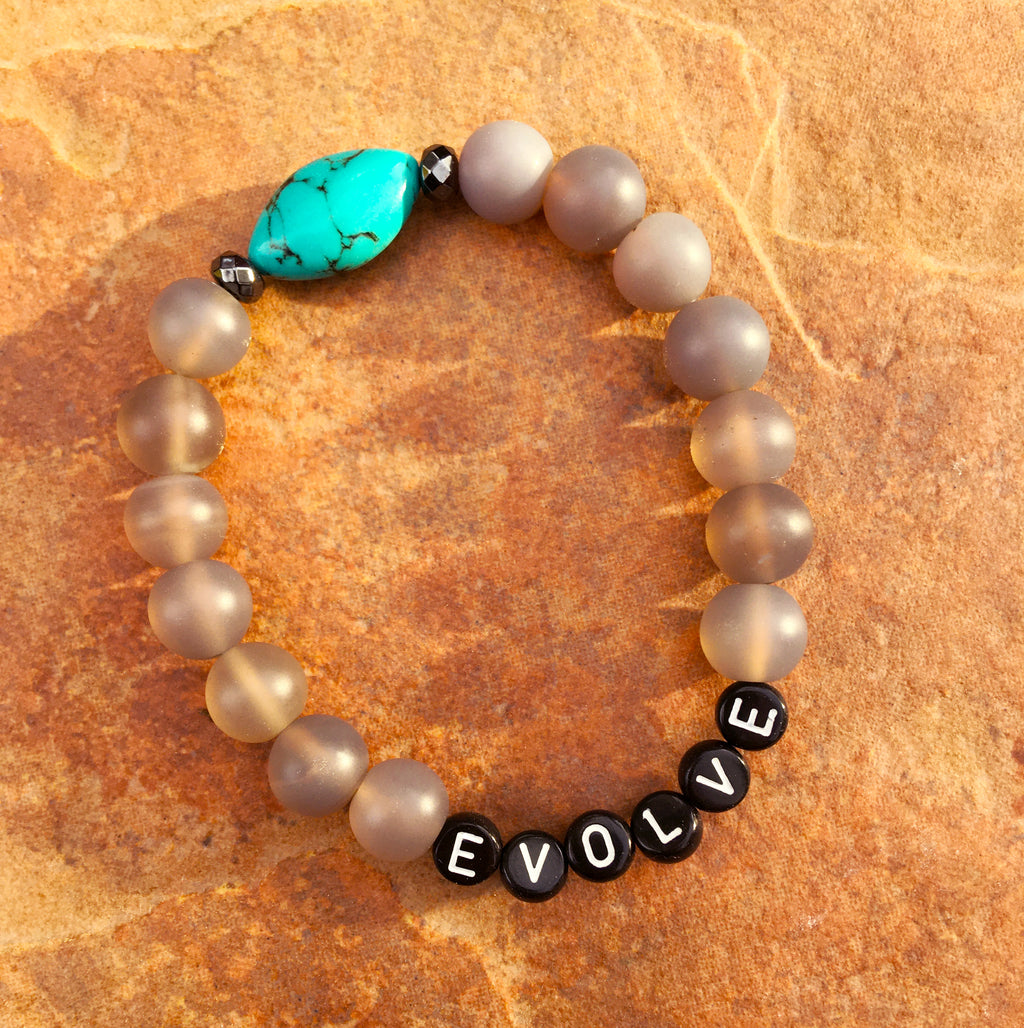 Men's Gray Agate EVOLVE Turquoise Gemstone Bracelet