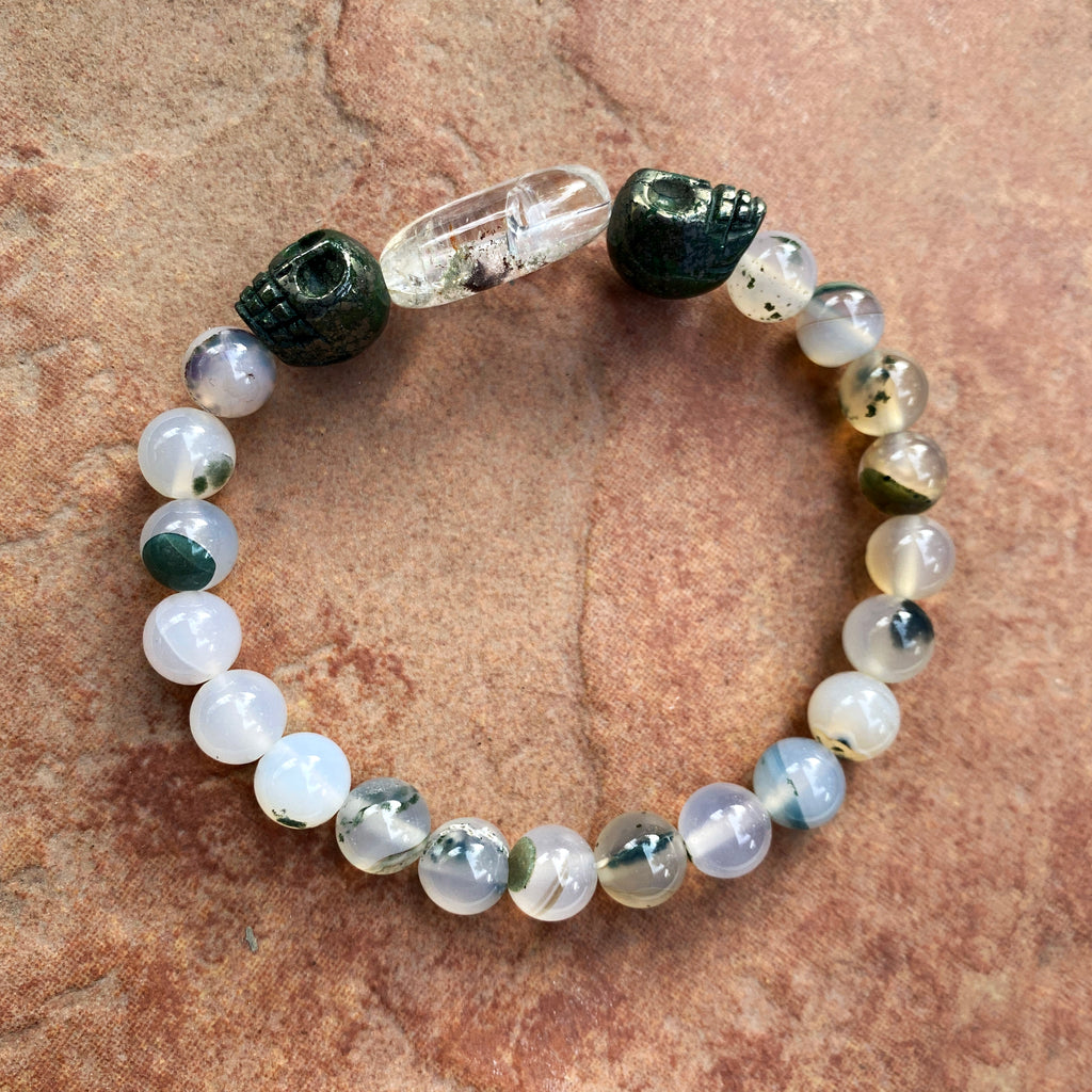 Moss Agate, Pyrite Skulls, and Phantom Quartz Men's Stretch Bracelet