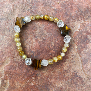 Women's Tiger Eye star, Rutilated Gold & Citrine stretch bracelet