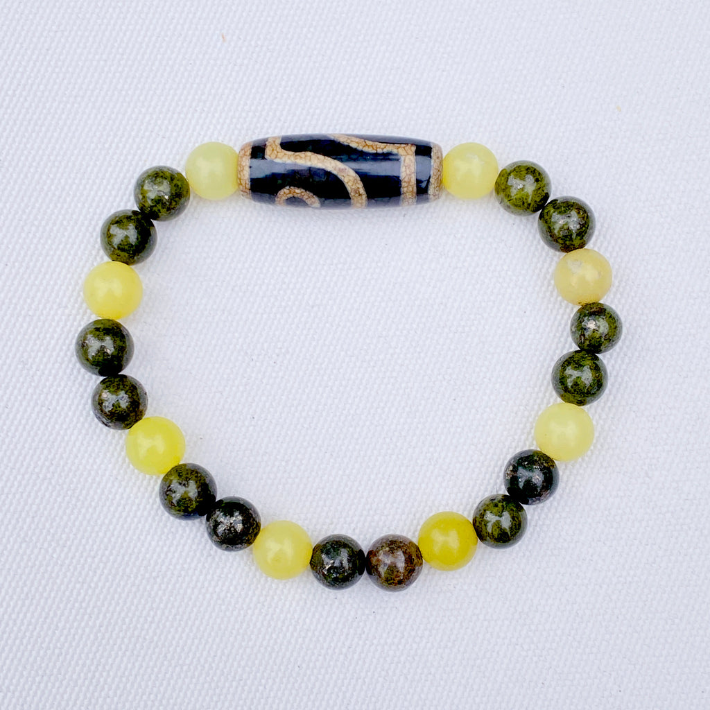 Men's Lemon Jade, green Pyrite, and Tibetan Agate Gemstone stretch Bracelet