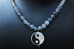 Men's Agate gemstone Yin and Yant Pendant Necklace