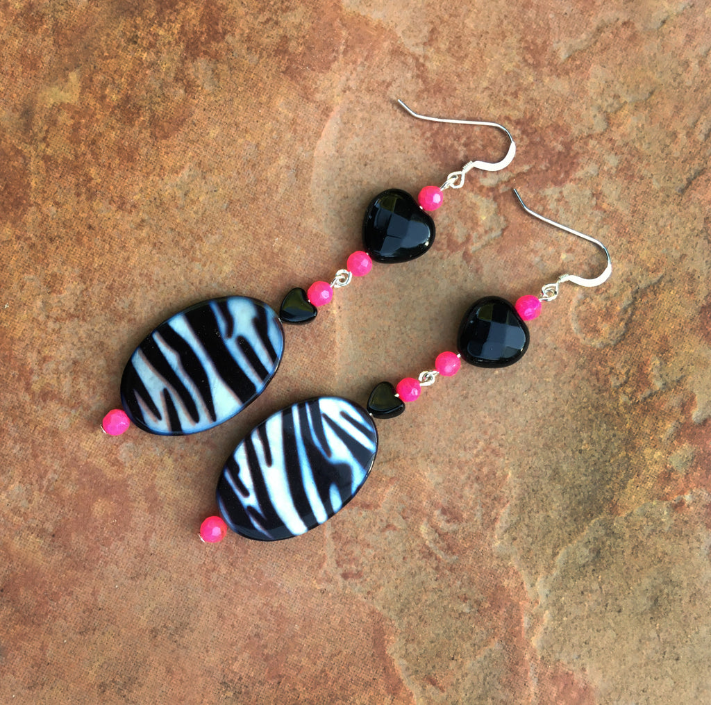 Women's Zebra print mother of pearl, pink Agate Gemstone and Onyx Heart Earrings