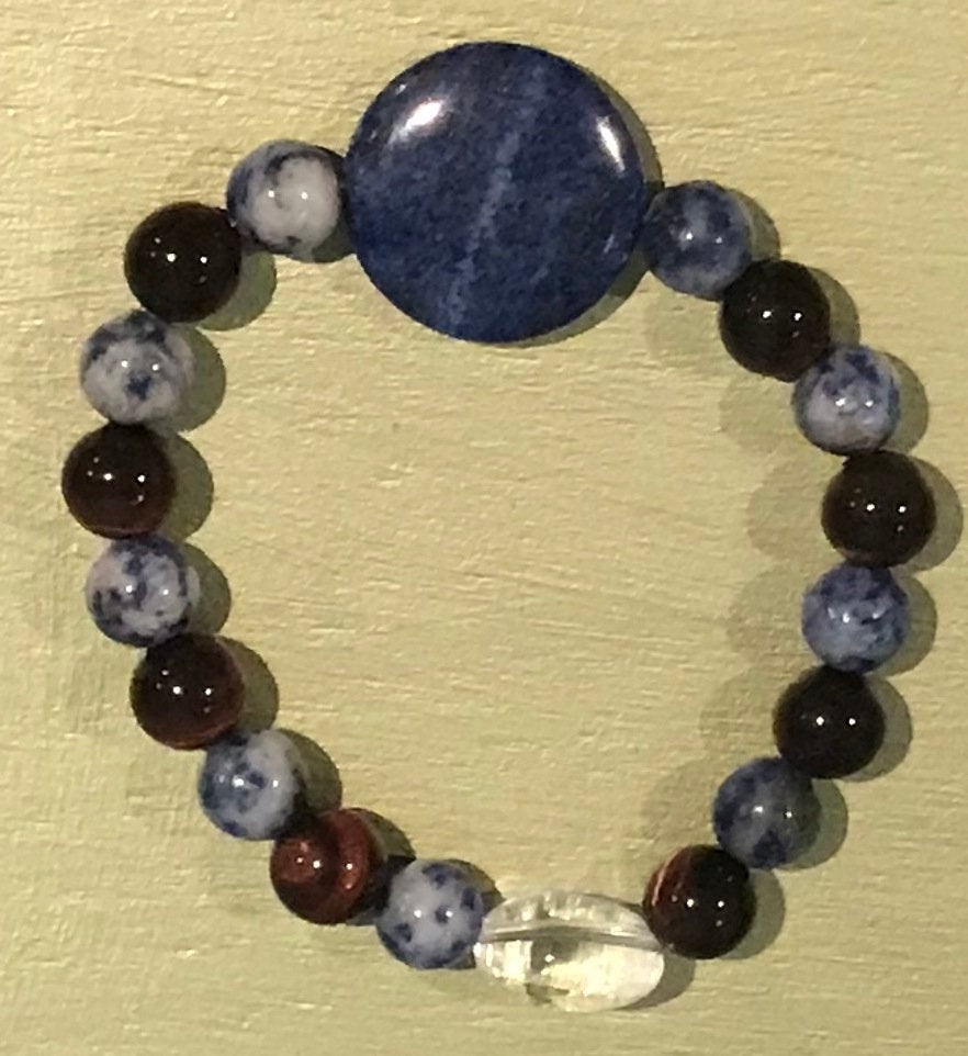 Men's Lapis Lazuli & Quartz Gemstone  Beaded Bracelet