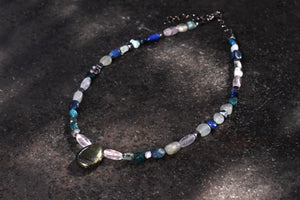 Women's Pyrite with Quartz and Moonstone Gemstone Necklace