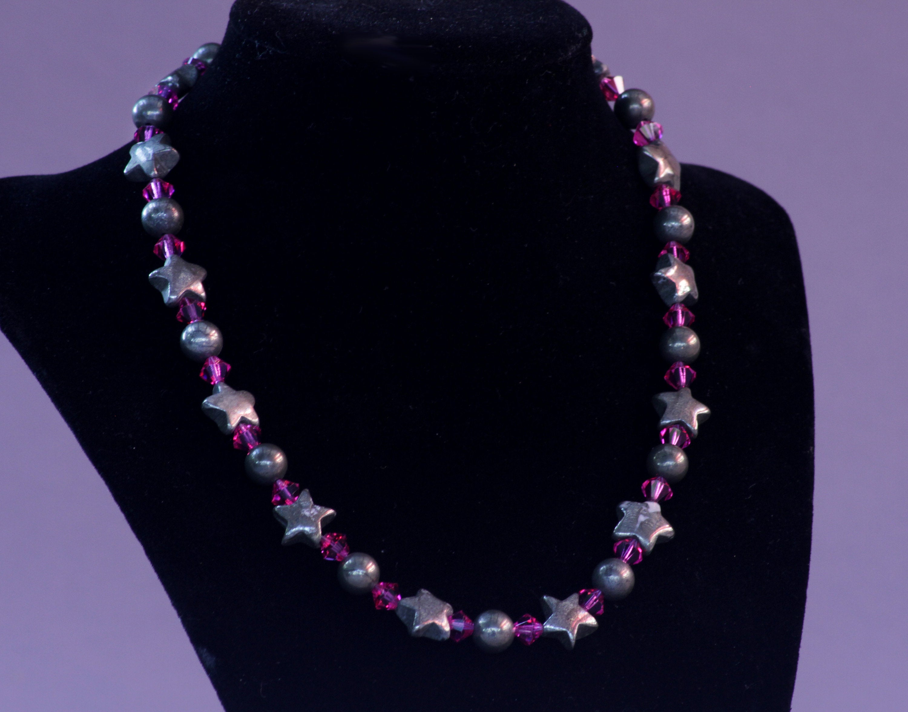 Women's Pyrite & Fuchsia Crystal Necklace