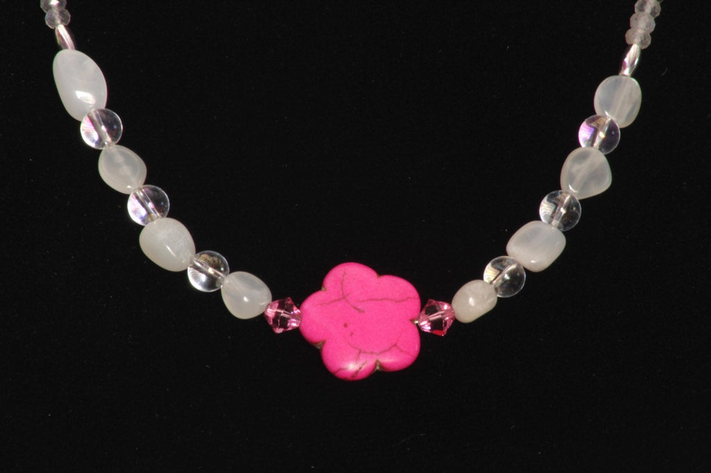 Woman's Pink Howlite Flower and Moonstone Gemstone Necklace