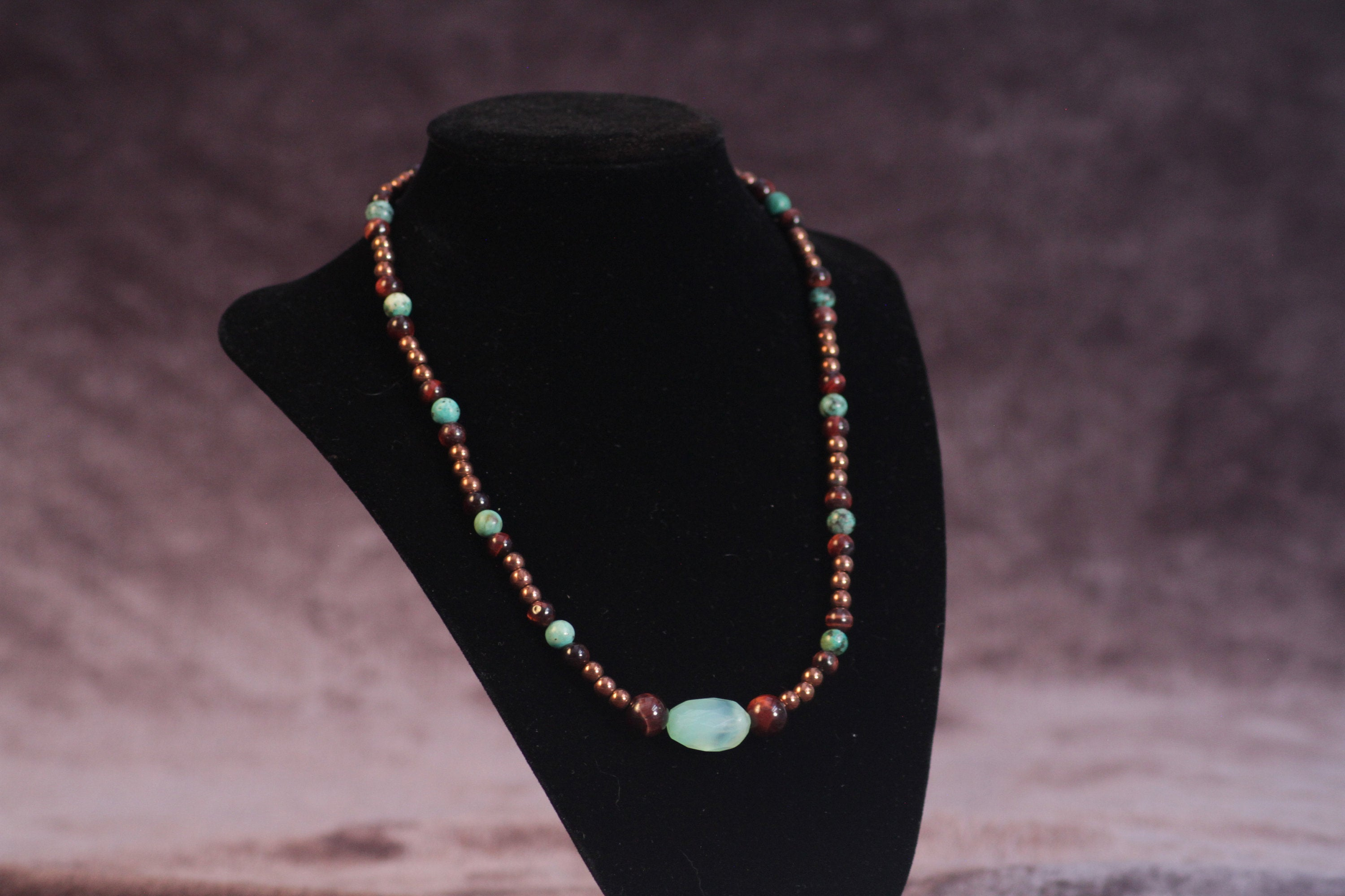 Men's Turquoise and Chalcedony Pendant Necklace