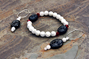 Moonstone and Onyx Cameo Earrings