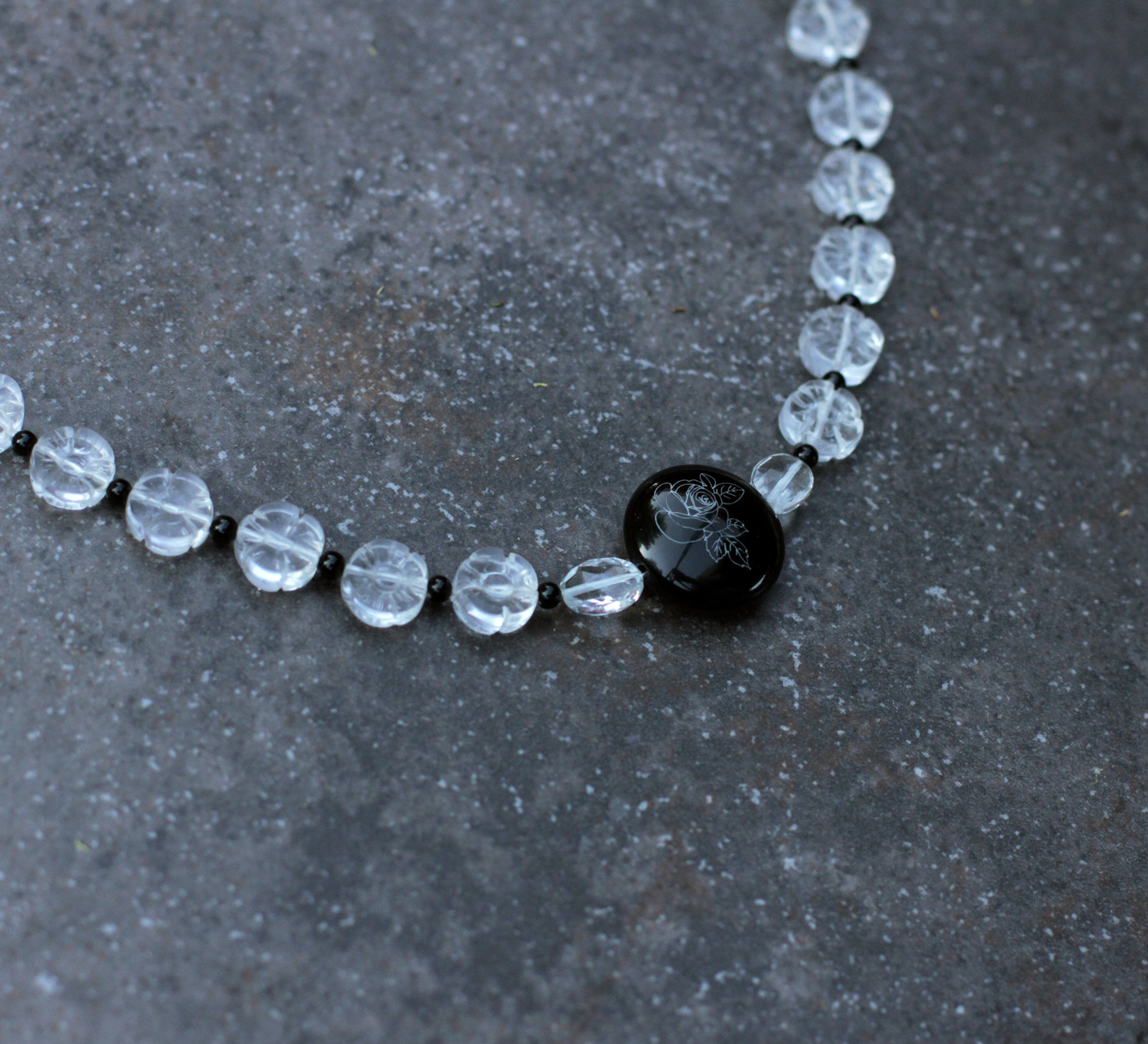 Women's Quartz, Onyx & White Topaz Necklace