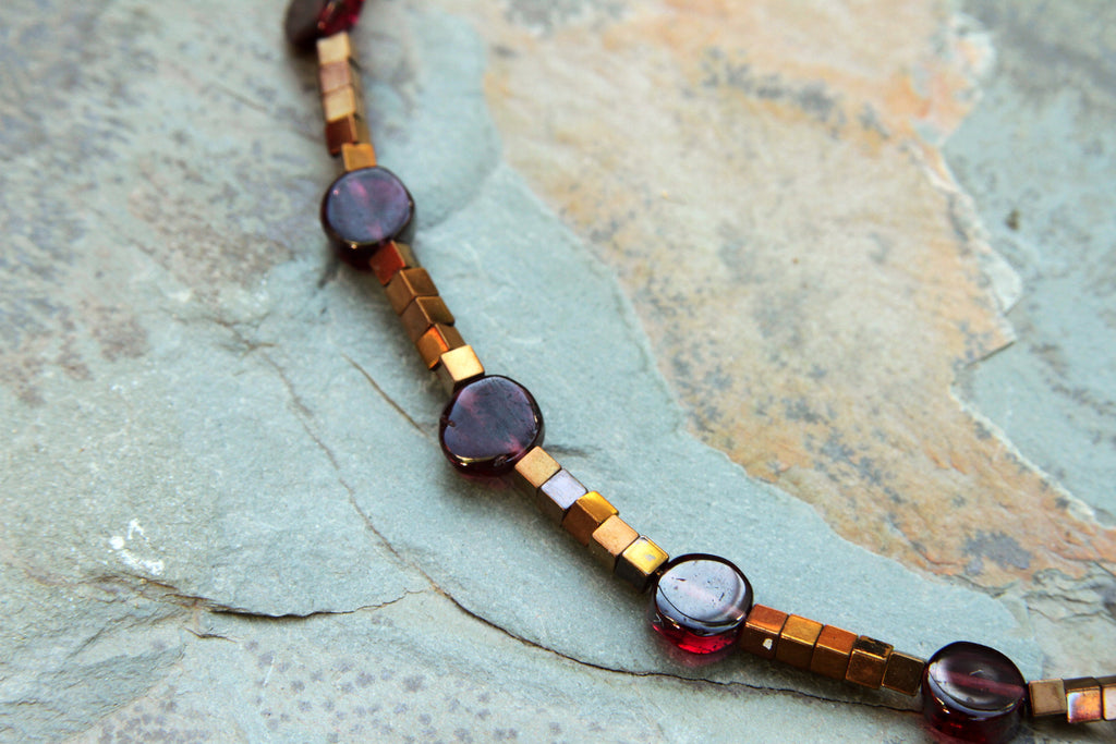 Women's Garnet and Gold Hematite Gemstone Anklet