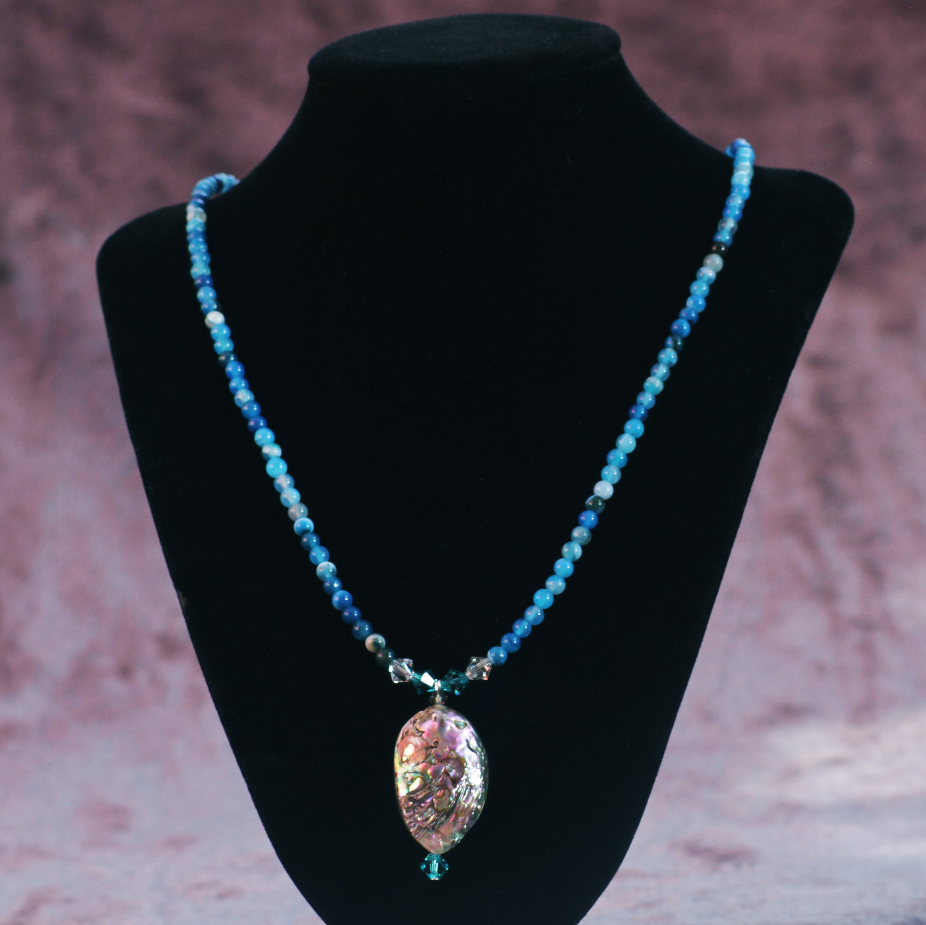 Women's Blue Agate & Abalone Necklace