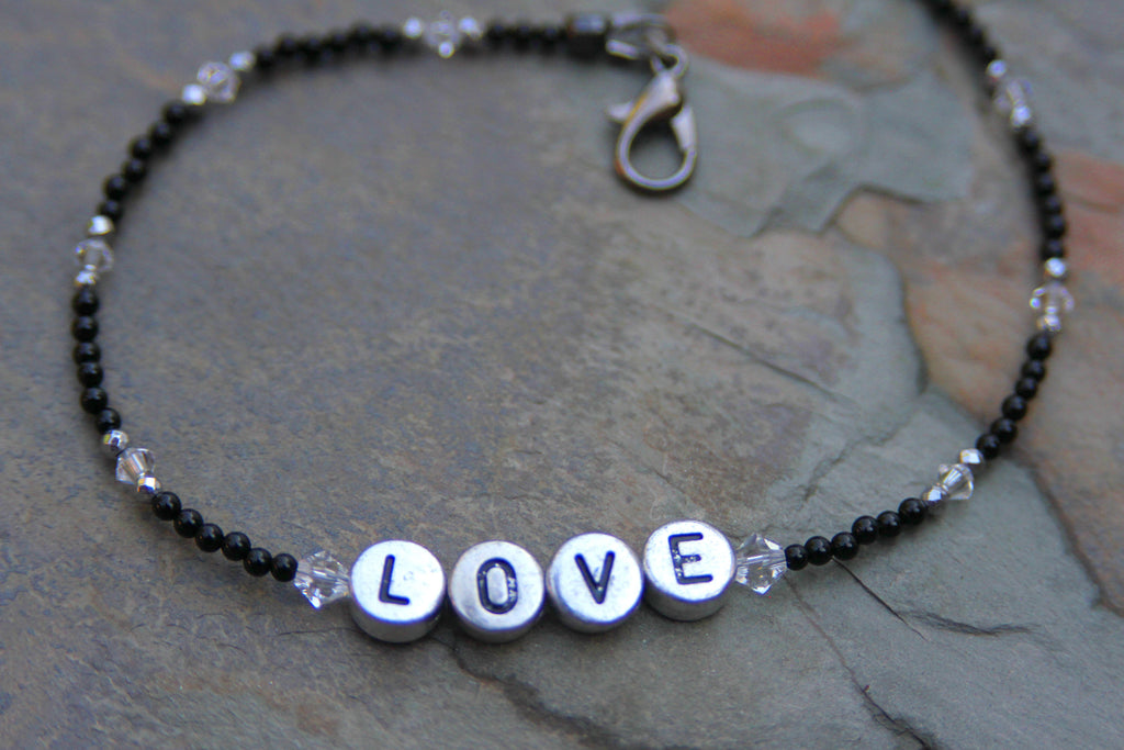 "Black Hematite and White Onyx ""LOVE"" Anklet"