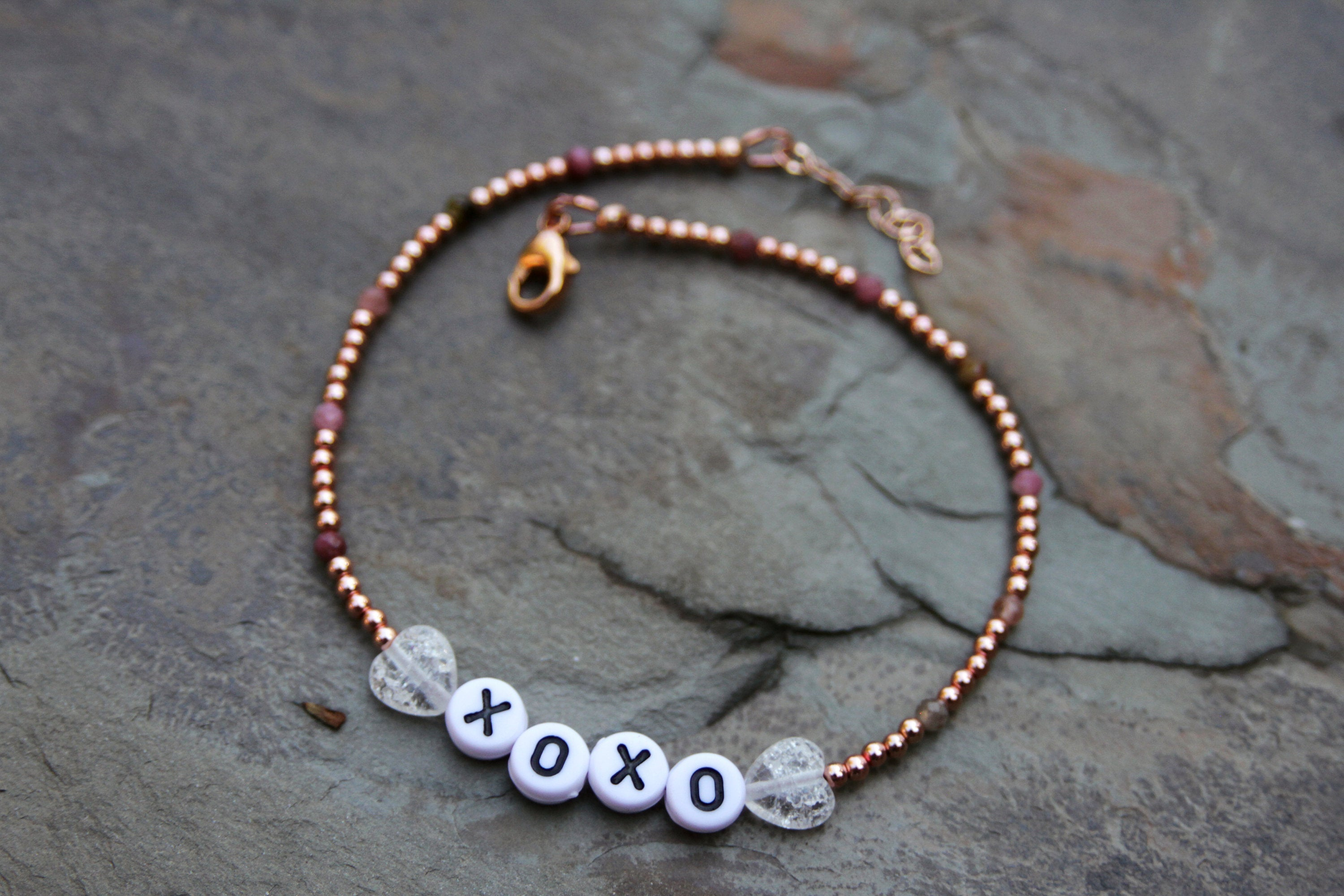 "Women's Quartz & Tourmaline ""XOXO"" Anklet"