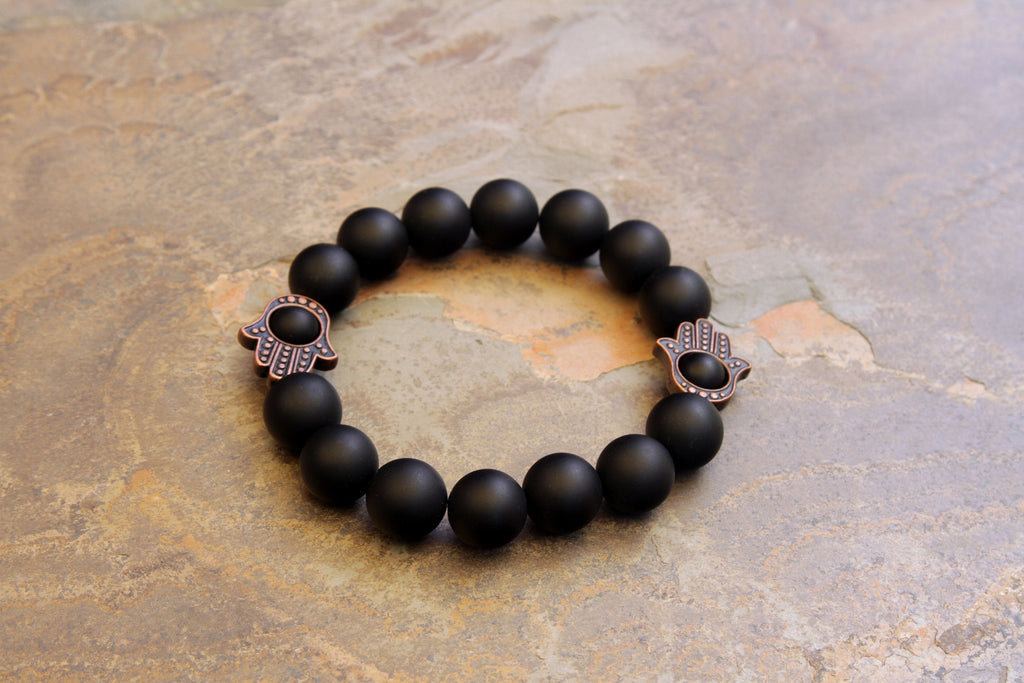Men's Matte Onyx with Red Copper Hamsa