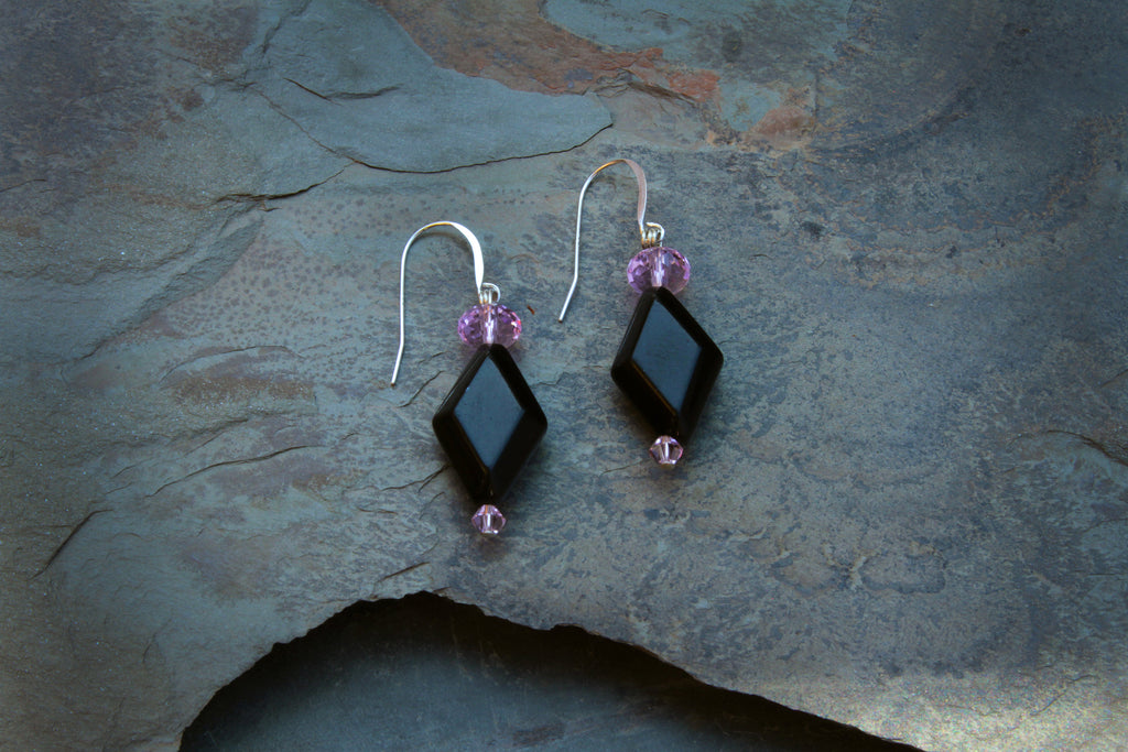Women's Black Agate Earrings