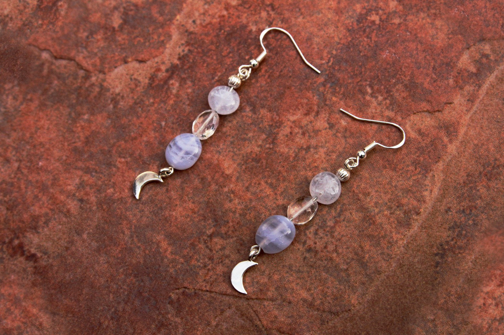 Women's Topaz and Agate Earrings with Sterling Silver Moon