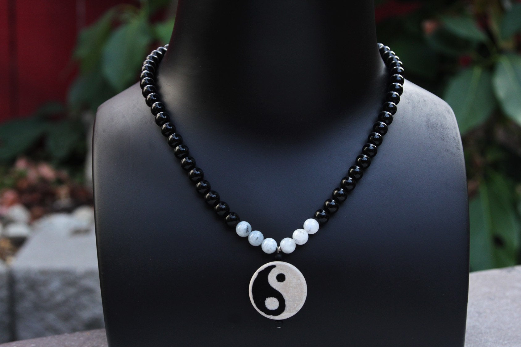 Men's Black Jasper, Moonstone and Agate Yin Yang Necklace