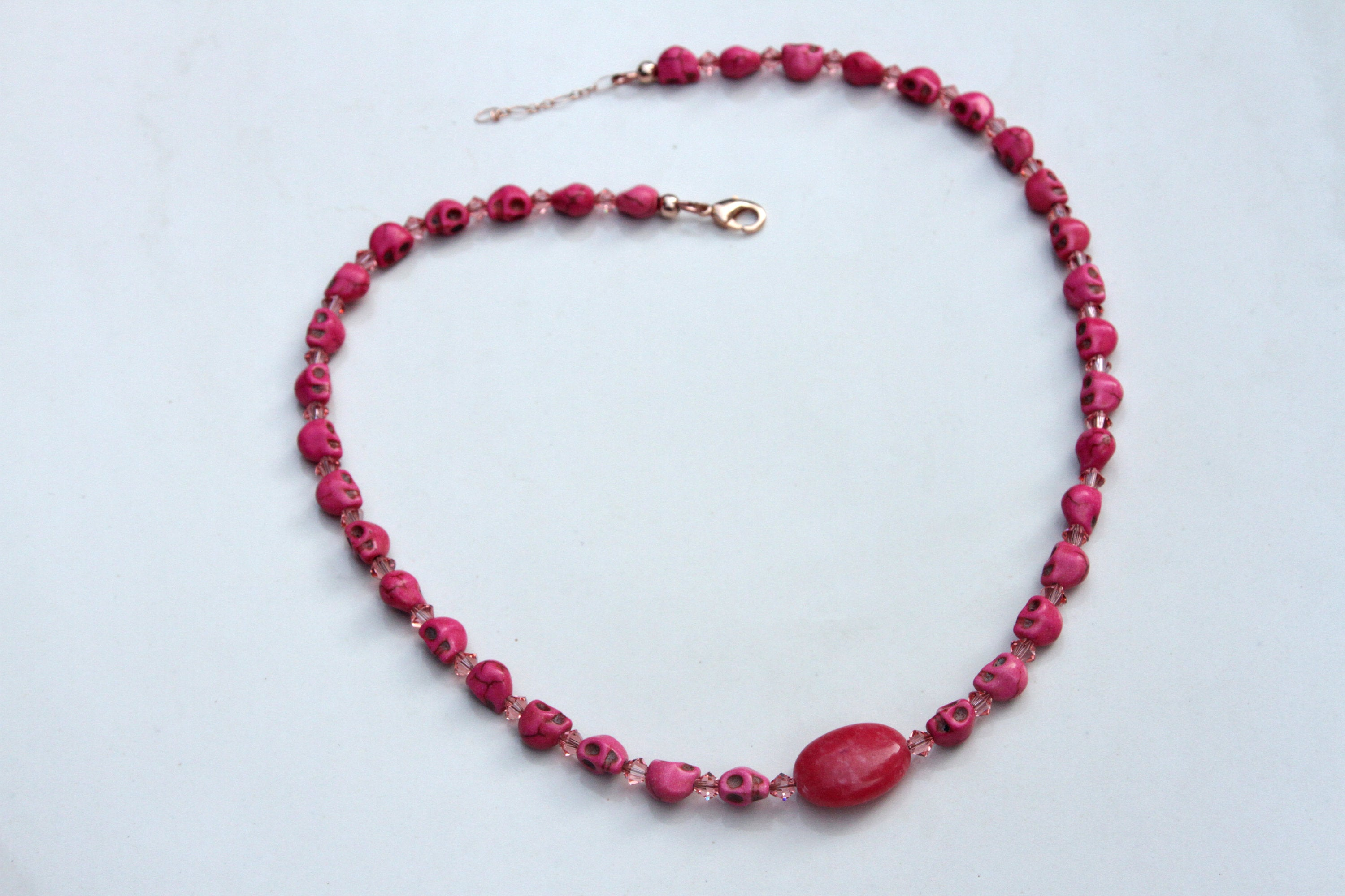 Women's Pink Magnesite Skulls with Pink Jade Gemstone Necklace