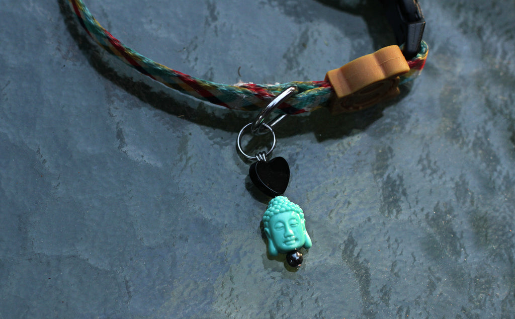 Pet Collar Jewelry with Onyx Gemstone & Carved Stone Buddha Head
