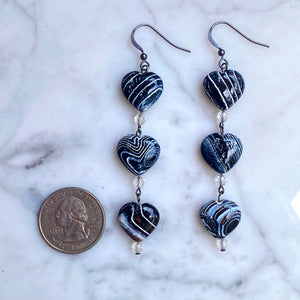 Zebra Fire Agate Heart, White Topaz Gemstones and Oxidized sterling earrings