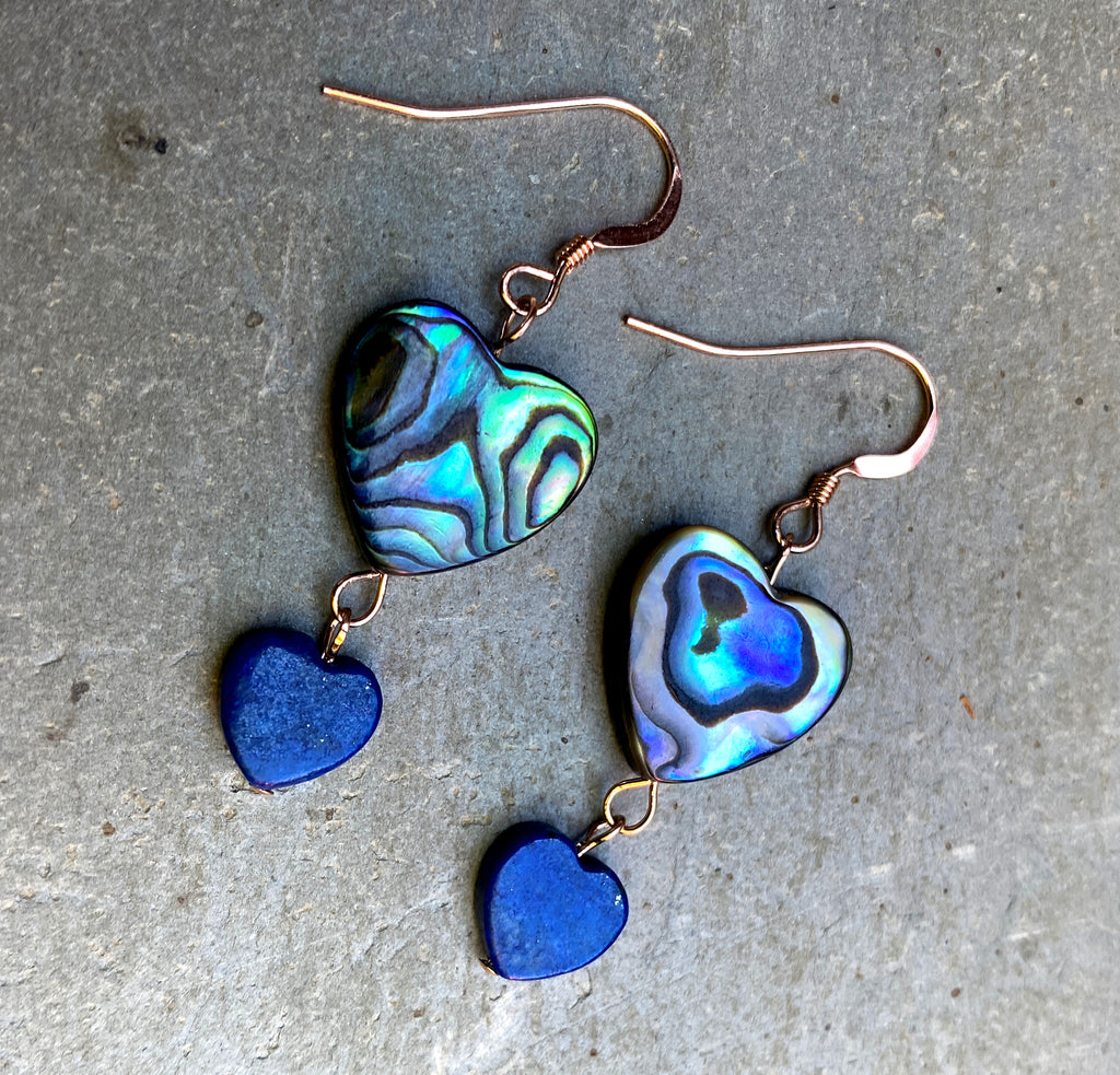 Abalone and Lapis Lazuli Gemstone Heart 14 Kt GF Drop Earrings