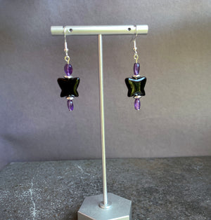 Black Obsidian Butterfly with Amethyst and Sterling Silver Drop Earrings