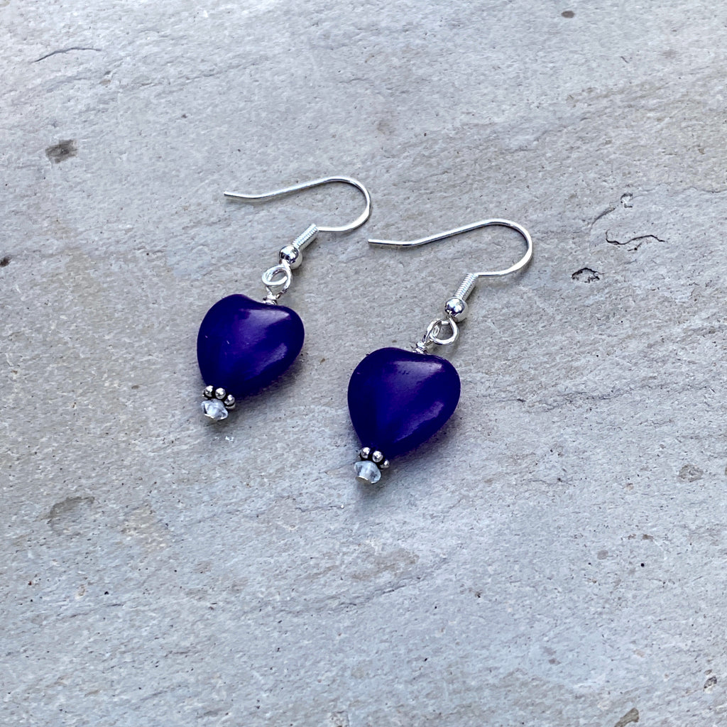 Russian Amethyst Hearts w/ White Topaz and Sterling Silver Drop Earrings