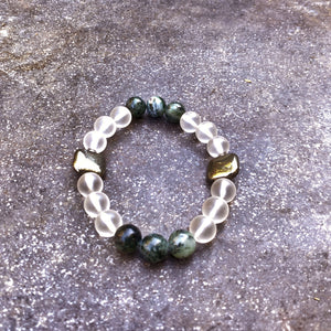 Matte Quartz, Pyrite, and Moss Agate Gemstone stretch bracelet