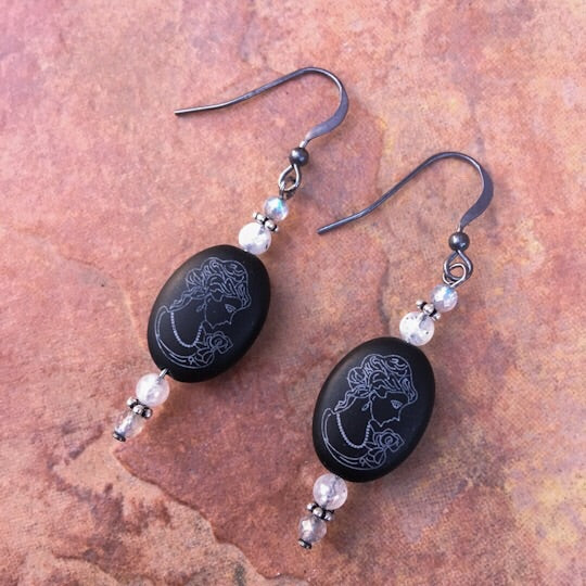 Women's Onyx Cameo, Labradorite and Moonstone, with oxidized sterling silver drop earrings