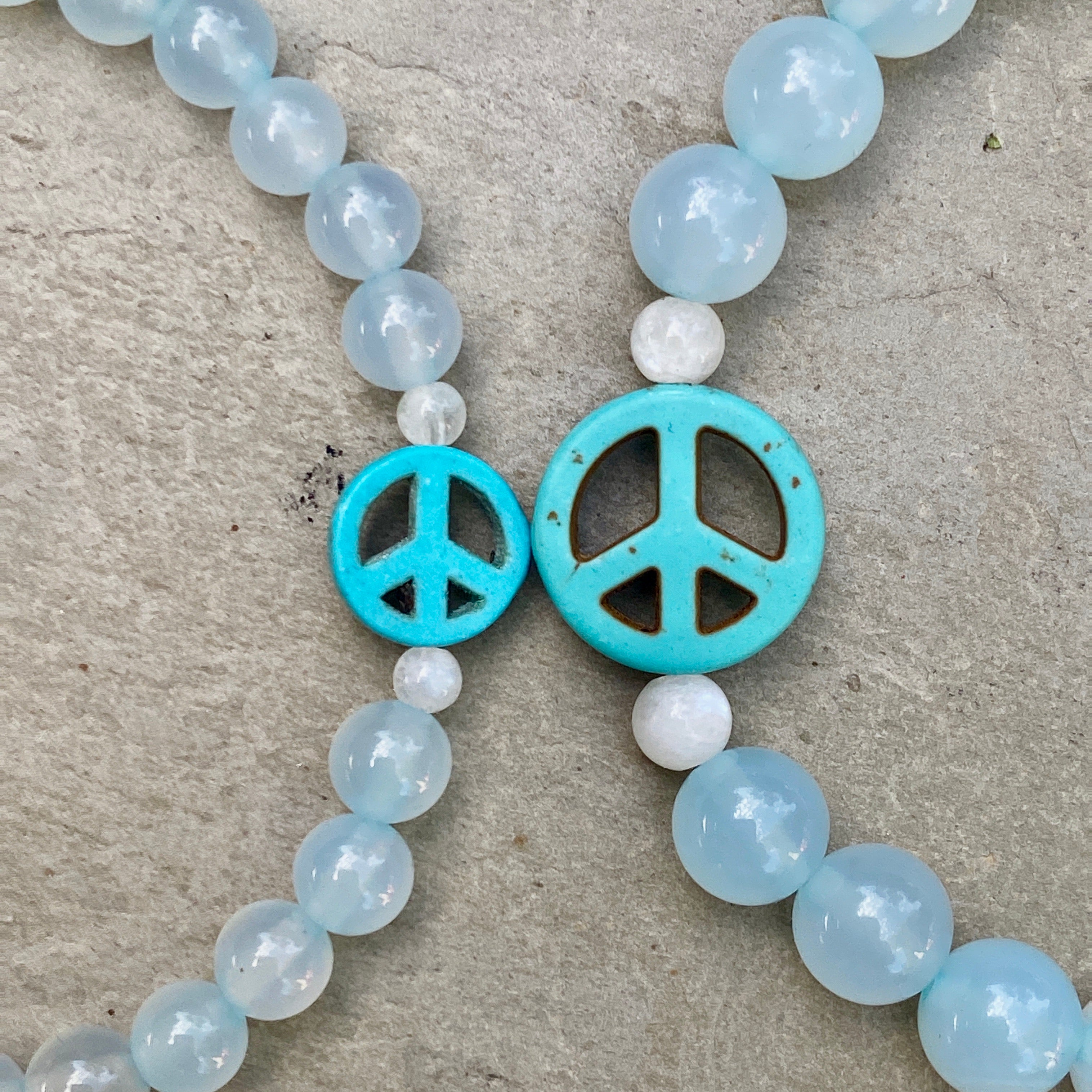 Blue Agate and Howlite Peace Sign Stretch Bracelet in Men or Women size