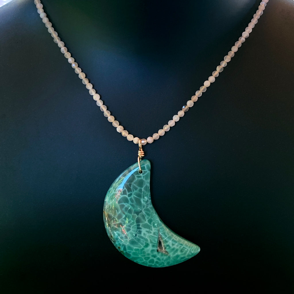 Agate Moon and moonstone Gemstone necklace with 14 kt gold fill chain