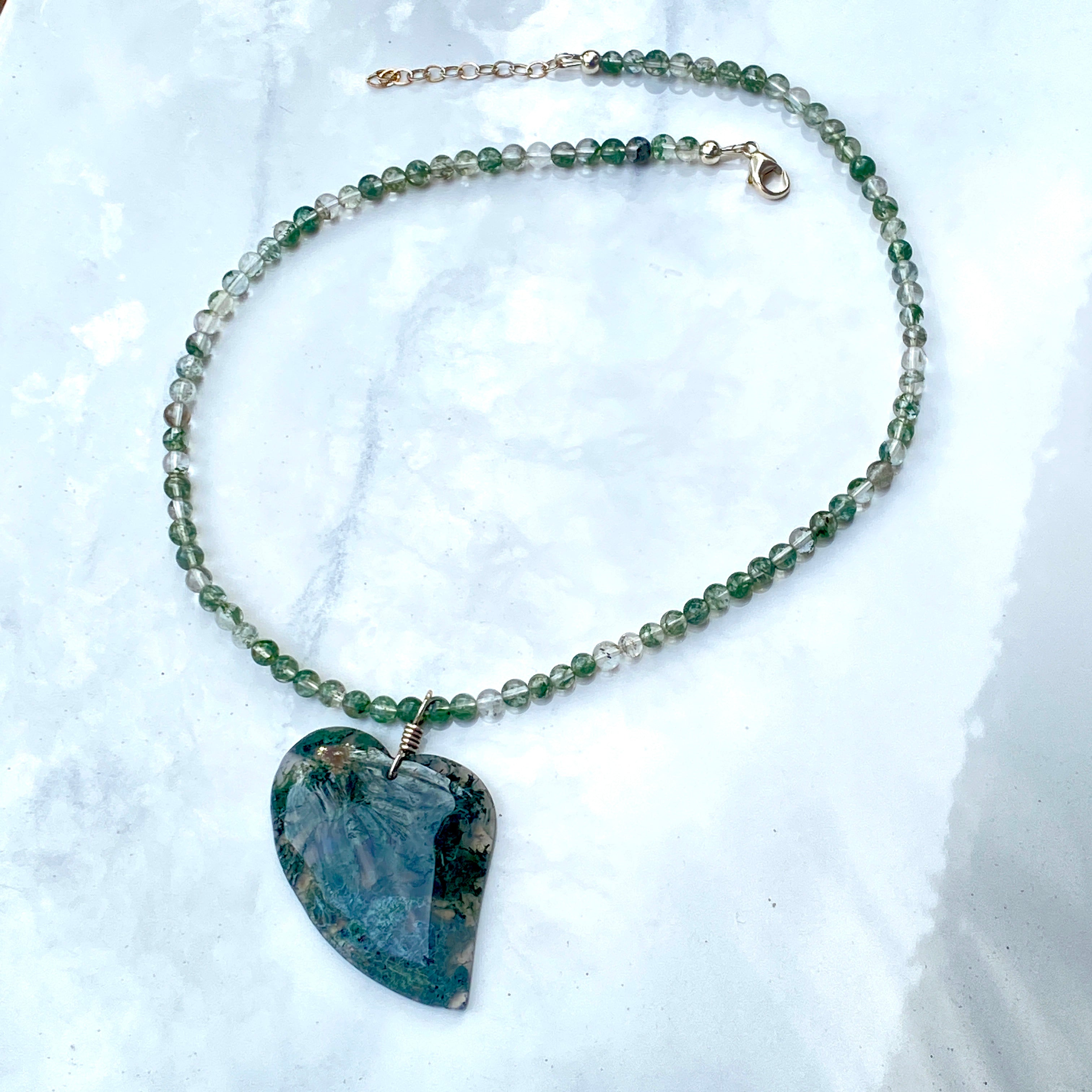 Green moss agate heart  necklace