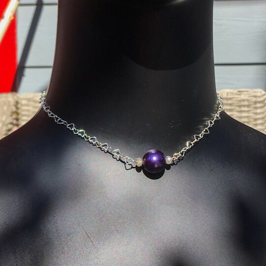 Sterling silver heart chain with a purple south sea pearl and labradorite choker