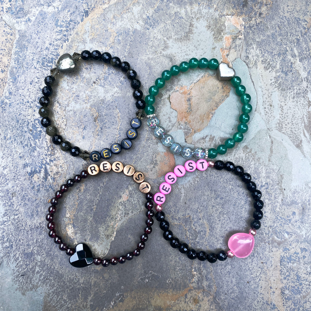 "New Women's ""Resist"" Gemstone Stretch Bracelets"
