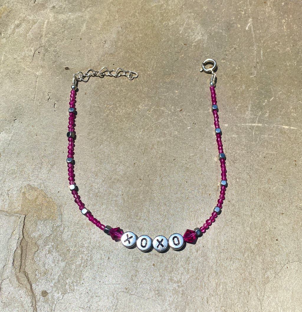 "Pink agate, hematite, and Swarovski Crystal ""xoxo"" sterling silver anklet"
