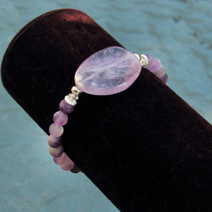 Amethyst and Clear Crystal Stretch Bracelet with Silver Accent