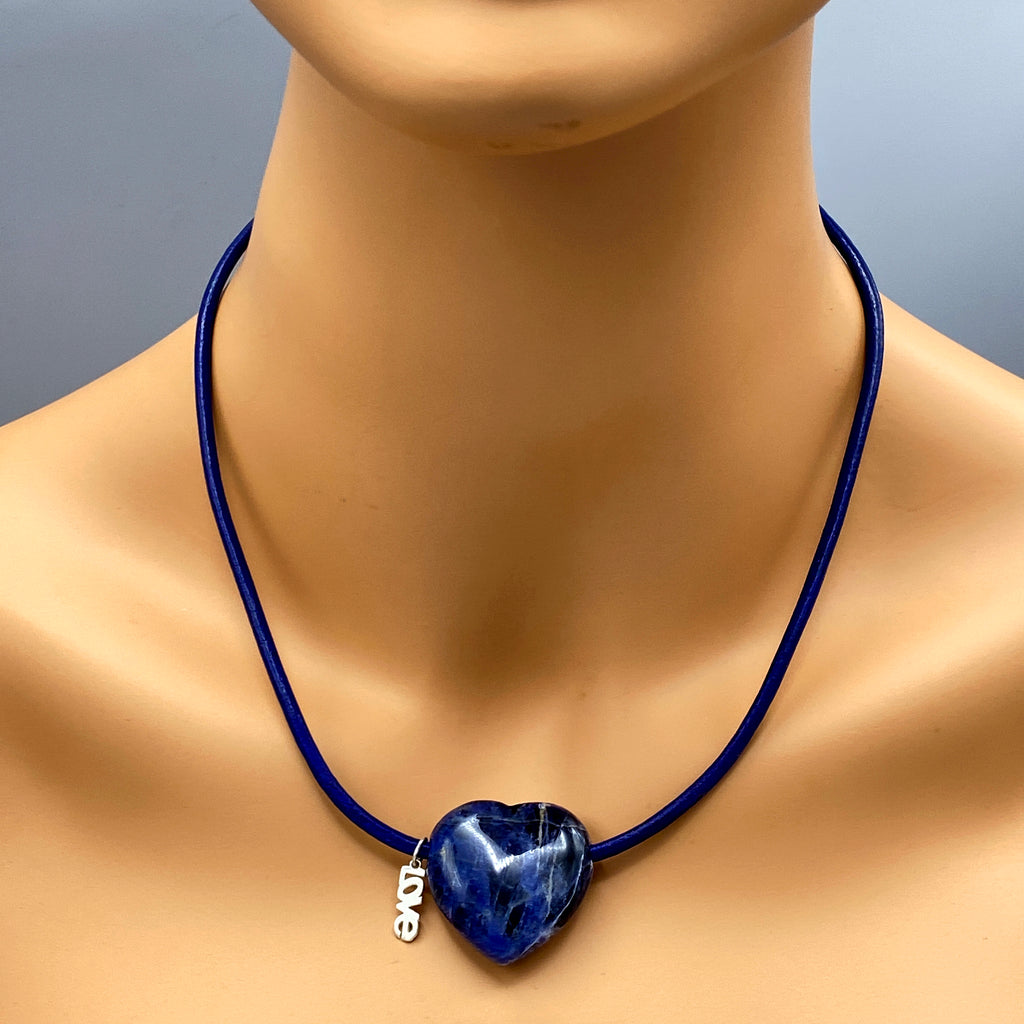 Sodalite Gemstone Heart and Sterling Silver on Blue Leather