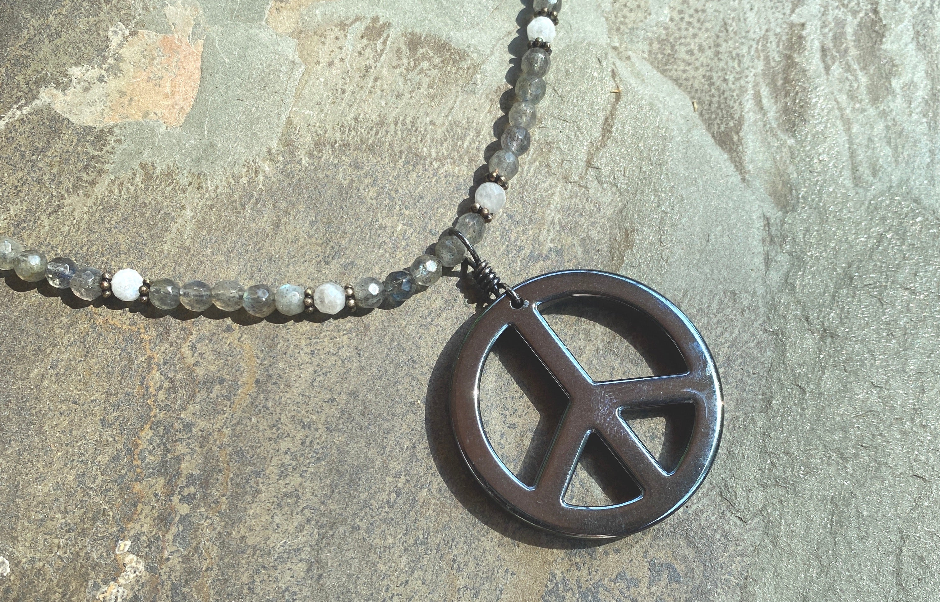 Women's Hematite peace sign, labradorite, oxidized sterling silver, aquamarines