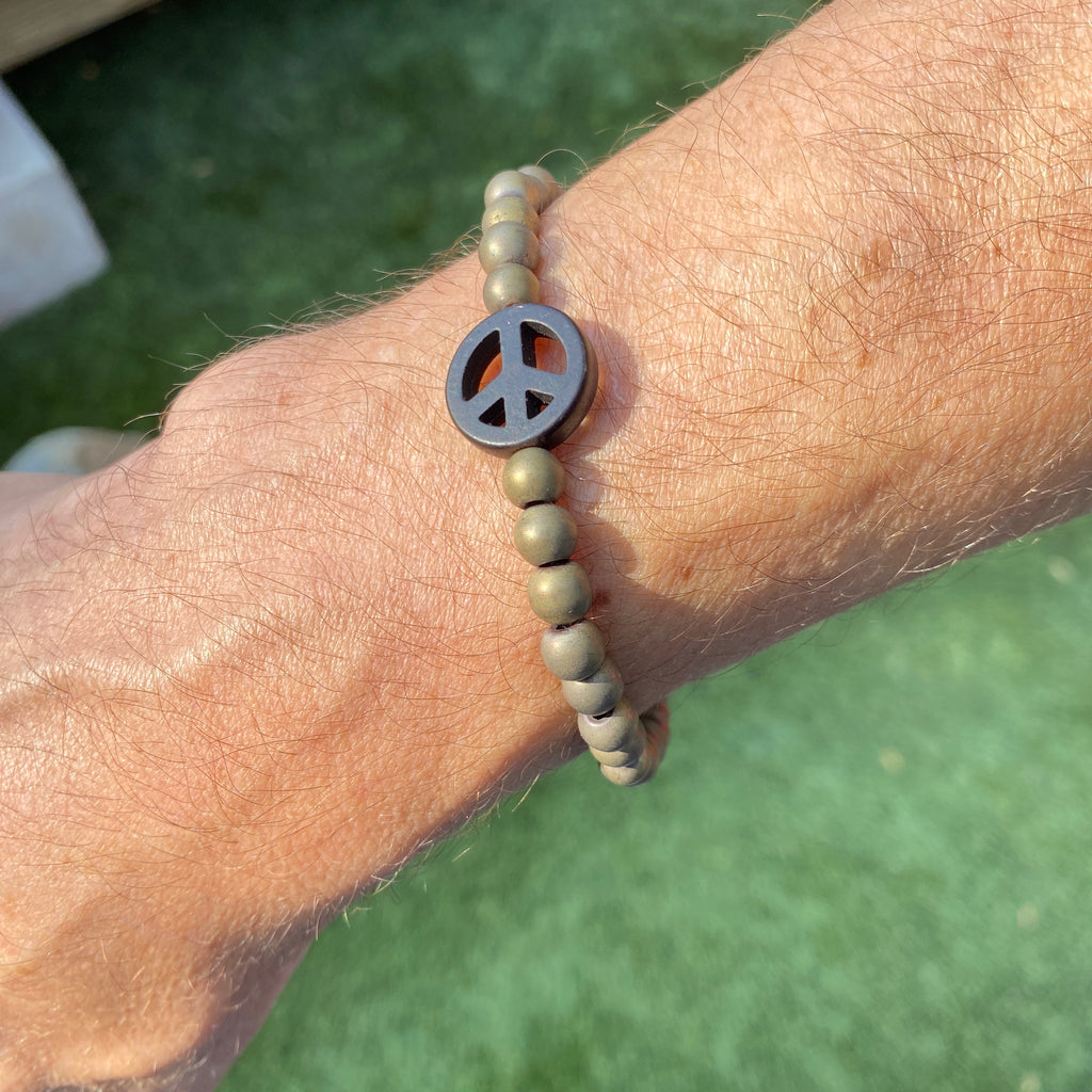 "Men's Matte Gold Hematite ""Vote"" With Howlite Peace Sign"