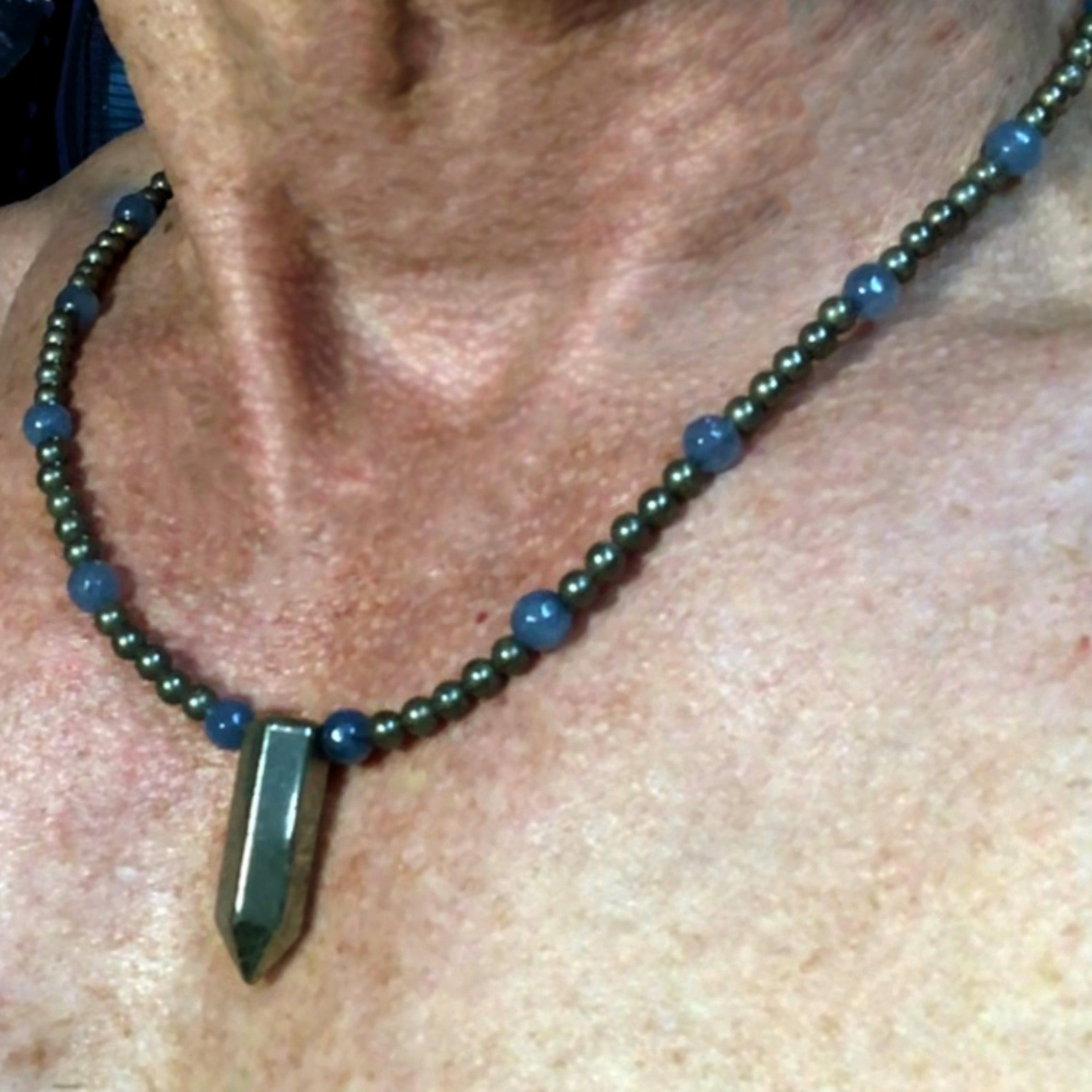 Men's Pyrite and blue Jade Gemstone necklace