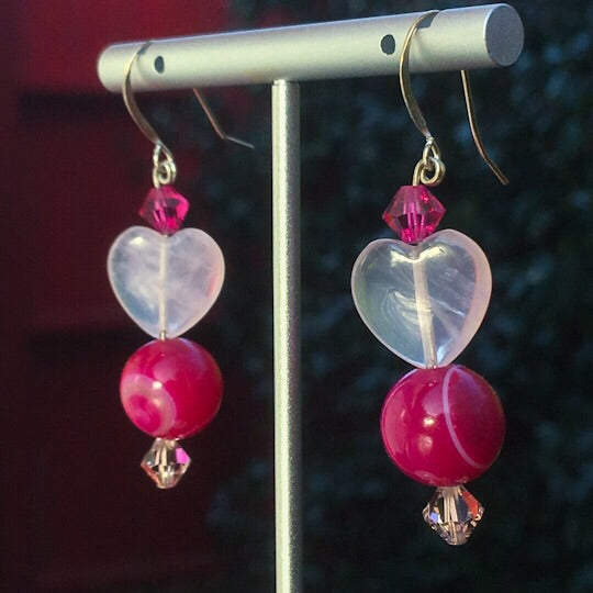 Rose Quartz hearts with Pink Striped Agate, Swarovski Crystal and sterling silver drop earrings.