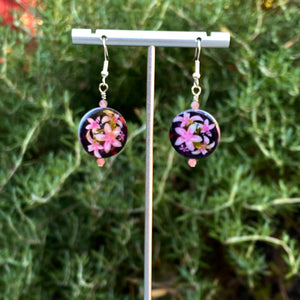 Mother of pearl and pink tourmaline Gemstone sterling silver drop earrings
